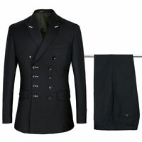 Men Suits Set Slim Fit Double Breasted Smart Casual Stylish Jacket Pants Attires