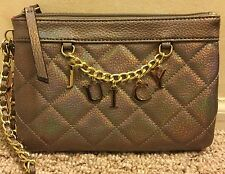 NWT JUICY COUTURE PEWTER TAN QUILTED WRISTLET CLUTCH BAG PURSE DOUBLE ZIPPER