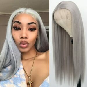 24inch Synthetic hair Lace front wigs Full Head Silver grey Straight