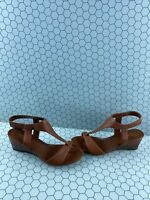 Franco Sarto DORI Brown Leather Ankle Strap Open Toe Wedge Heels Women's Size 9M