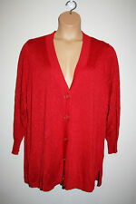 NEW Womenss JOSEPH A. Red Shimmer Long Sleeve Cardigan Sweater V-Neck 3X NWT
