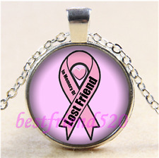 Breast Cancer Lost Friend Cabochon Glass Tibet Silver Pendant Necklace#CE55