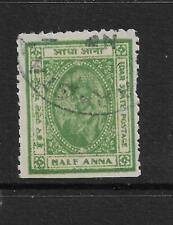 1944 IDAR, SG3 CAT £85,KGVI, 1/2 ANNA BLUE GREEN,INDIA, INDIAN STATES