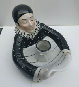 PORCELAIN PIERROT MATCH HOLDER, PERFECT, IMP. NO. 1883., TOOTHPICKS/CANDLE ?.