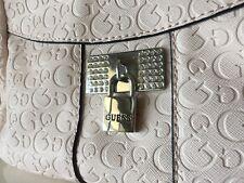 Guess Logo Purse Satchel Hand Bag Light PinkCrystal Lock G logo pattern NEW