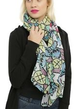 """Disney Lilo & Stitch Scarf Sheer Pineapple Tossed Print Oblong 44""""x72"""""""