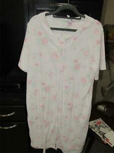 Miss Elaine Pink Terrycloth Full Zip Housecoat Robe w/Pink Flowers | Large