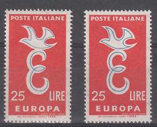ITALIA FRANCOBOLLO VARIETA' EUROPA 1958 RIGA BLU A DESTRA SPOSTATA REGALO VEDI