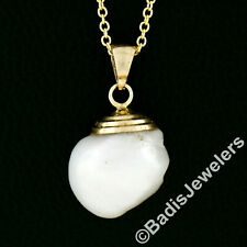 14K Yellow Gold GIA Baroque Freshwater Pearl Solitaire Pendant w/ Chain Necklace