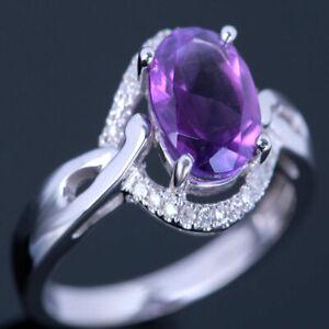 Solid 14K White Gold Genuine Amethyst Diamond Gemstone Jewelry Wedding Fine Ring