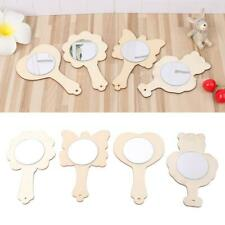 DIY White Wood Mold Mirror Painting Handmade Craft Kids Toys Trinket Material