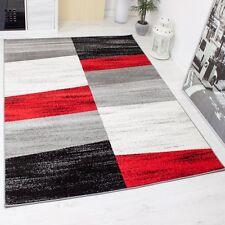 Alfombra de diseño para el salón cuadrados jaspeados rojo gris blanco y negro
