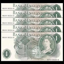 Lot 5 Pcs, Uk Great Britain 1 Pound, 1970-1977, P-374g, banknote, Unc