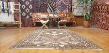 """Exquisite Antique Cr1930-1939s Wool Pile  Muted Dye Oushak Runner Rug 3'5"""" x 7'"""