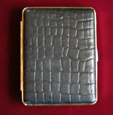 Hansaware Large Black Croc Embossed Cigarette Case Made in Germany 1296/B LE 77