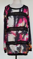 CITY CHIC Black/Pink Floral wuth Sheer Black Trim Top Size XL