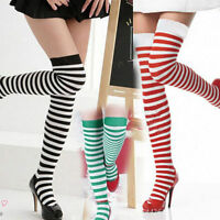 Over The Knee Sock Plain Striped High Thigh Lady Long Women Soft Stripe Stocking