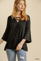 Umgee Black Criss-Cross V-Neck 3/4 Bell Sleeve Knit Top Size S M L