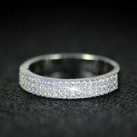 Half Eternity 1 Ct D/VVS1 Round Cut Diamond 14k White Gold FN Wedding Band Ring