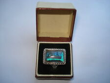 C1950S VINTAGE R.M.S.CAPETOWN CASTLE SILVER& BUTTERFLY WING RING IN ORIGINAL BOX