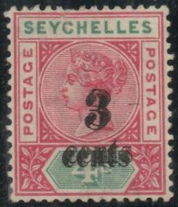 """SEYCHELLES: 1893 3c on 4c """"SURCH DOUBLE"""" Sg 15b M.Mint, Cert - Cat £475 (38658)"""