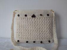 Handbag Hand Crochet Holiday Shoulder Bag Crochet Purse Ecru Bag With Brown Bead