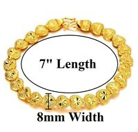 "24k Yellow Gold Linked Hearts Chain Bracelet Women's Small 7"" w Gift Pkg D149"