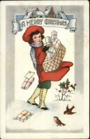 Christmas - Little Boy w/ Basket Full of Presents c1910 Whitney Postcard