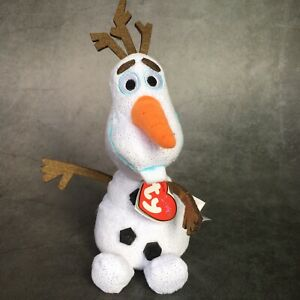"""Ty Beanie Babies Disney Frozen Sparkle OLAF Snowman Plush w/ Tags 7"""""""