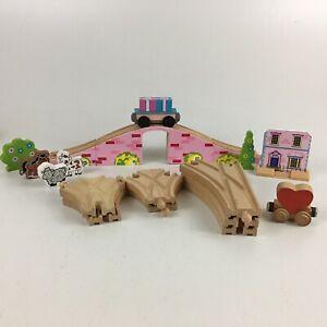 20 Pieces Kidkraft Wood Pink Bridge Wooden Track Set House Trees Animals