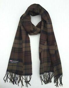 100% Cashmere Scarf Plaid Olive / Brown / Black SCOTLAND Soft Wool Wrap