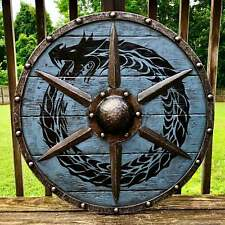 Medieval Larp Warrior Wood & Steel Viking Round shield Armor Templar Shield V301