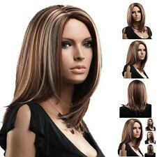 Women's Medium Mix Blonde Brown Straight Cosplay Hair Full Wigs Party*