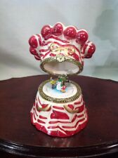 Candycane  Music Box Trinket Box Moving animated Ice Scaters Inside Ceramic