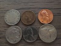 Old US Coin Collection Starter Lot Of 6 Indian Head Buffalo Wheat Lot