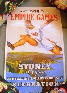 Vintage 1993 Poster Australia 150th Anniversary 1938 Empire Games Sydney