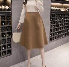 Women New Korean Style High Waist Wool Blend Thicken Buttom Skirt A-line Skirt