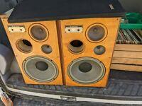 "PAIR 2 Kenwood LS-408A 3-Way Speakers Rare Tweeter 12""Subwoofer vtg project part"