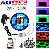 5/10/15M 5050 RGB LED Strip Lights Waterproof 24Key Wifi Controller 12V Adapter