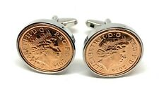 More details for 7th copper wedding anniversary cufflinks - copper 1p coins from 2014 gift idea