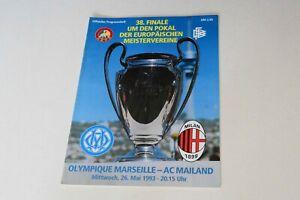 1993 CHAMPIONS LEAGUE FINAL MARSEILLE v AC MILAN PROGRAMME (EXCELLENT)