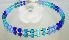 Kette Würfelkette funkelndes Kristallglas geschliffen türkis blau petrol 095f