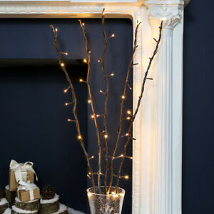 5 x 87cm Plug In Twig Branch Decoration With LED Fairy Lights | Home Indoor Vase