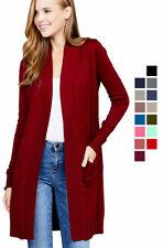 Women Cardigan Open Front Draped Sweater Long Length Rib Banded w/ Pockets