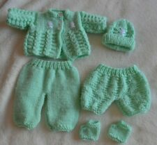 "Hand knitted boy doll clothes matinee set/hat/booties green Approx 14"" doll new"