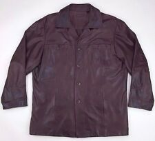 Roundtree and Yorke Leather Jacket Large Brown Long Mens Size Coat Quilted Lined