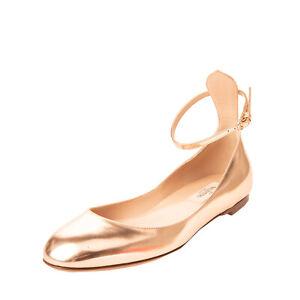 RRP €710 VALENTINO GARAVANI Leather Ballerina Flats EU36.5 UK3.5 US6.5 Metallic
