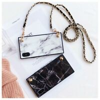 Granite Marble Cell Phone Crossbody Case Cover Long Strap Chain For iPhone XS XR