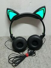 Kitty Cat Headphones with Neon Green Led Light Up ears Never used