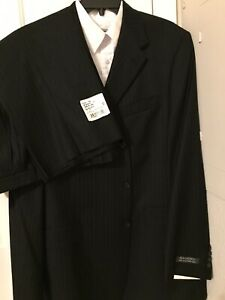 NEW Hart Schaffner Marx Studio Tailored Pinstripe Suit 100% Wool 44L/ 38L Black